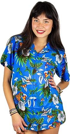 V.H.O. Funky Camisa Hawaiana con Blusa Mujer de Manga Corta con Bolsillo en la Parte Delantera Corte de Novio Camiseta Hawaiana Cherry Parrot Unisex: Amazon.es: Ropa y accesorios
