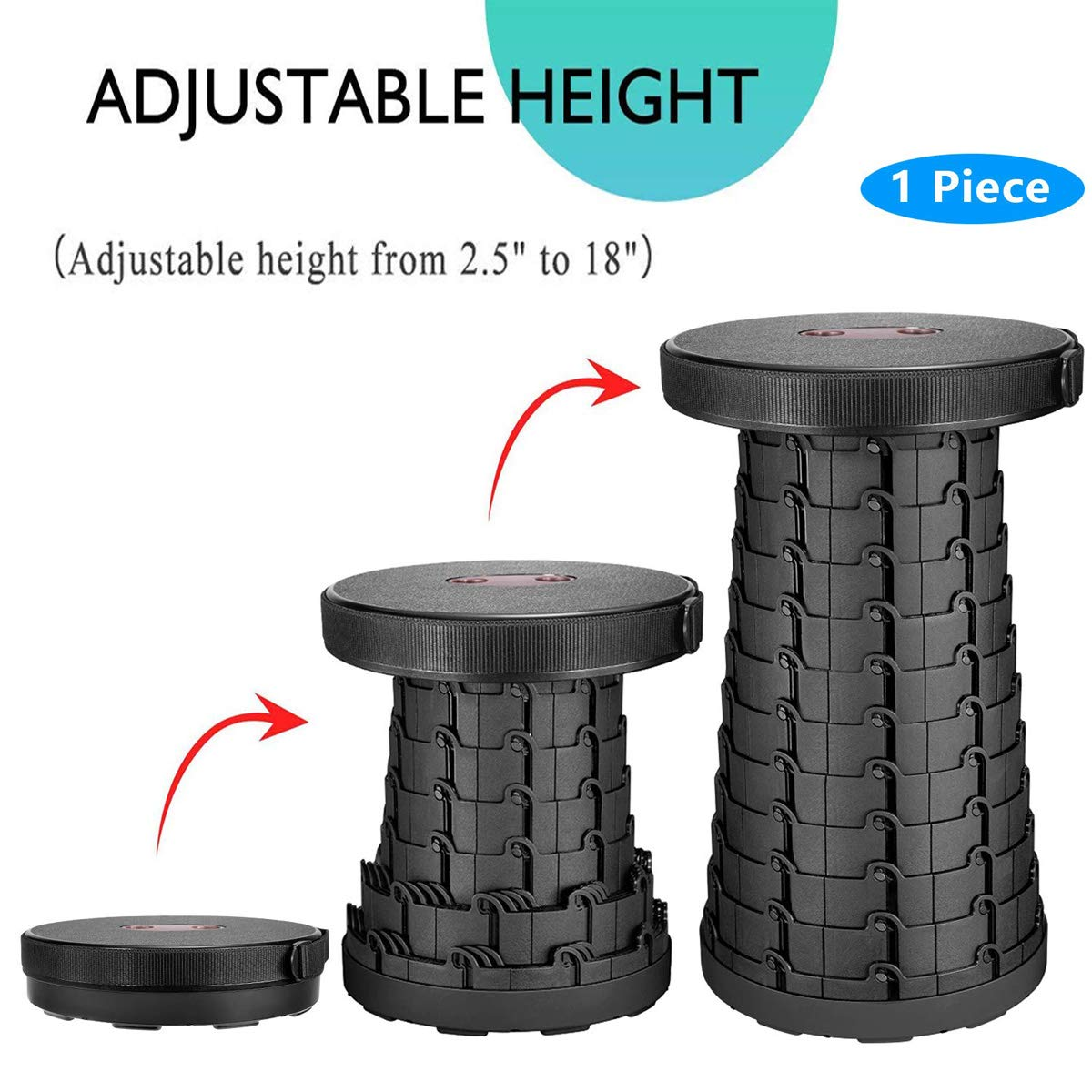 Portable Telescoping Stool Folding Camping Stool Foldable Chair Seat for Camping Fishing Hiking Traveling Mountain Beach Outdoor Activities Sturdy Retractable Plastic Stool Lightweight Collapsable Stool
