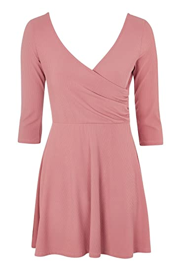 Topshop Petite Pink Long Sleeve Wrap Back Skater Dress UK 14 EURO 42 US 10 -