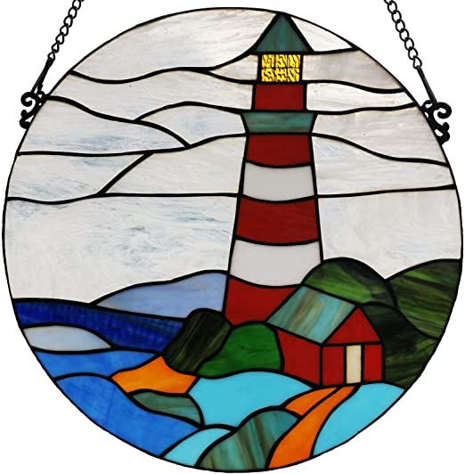 Lighthouse Sunshine Stained Glass Window Panel Hand Painted