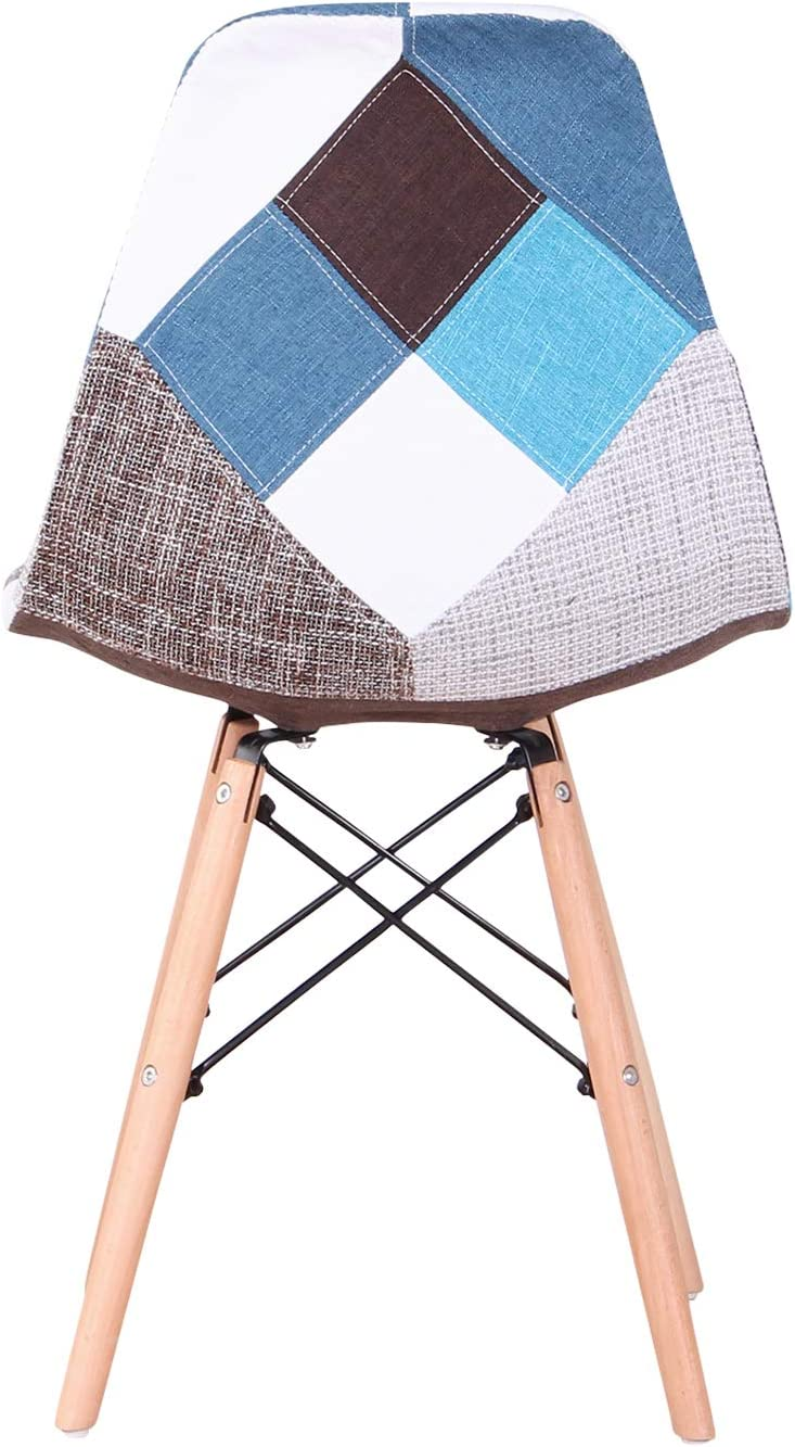 Sillas de Sala de Estar de Ocio Sillas con Respaldo de coj/ín Suave Azul EGOONM Conjunto de 4 Sillas de Comedor de Patchwork Multicolore