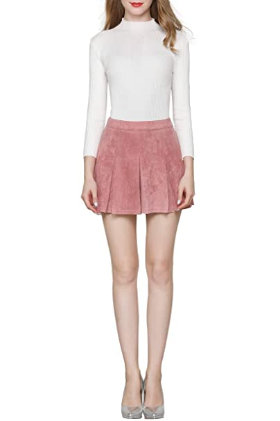 5bafdb00a Little Smily Women's A Line Faux Suede High Waist Pleated Mini Skirt, Pink,  ...