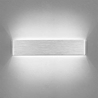 Yafido Aplique Pared Interior LED 40CM Lámpara de pared Plata 14W Blanco Frío para Salon Dormitorio Sala Pasillo Escalera AC 220V: Amazon.es: Iluminación