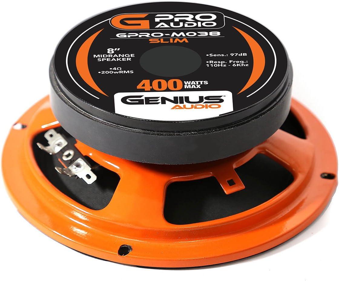 Genius GPRO-M0765 6.5 300 Watts-Max Super Slim Midrange Car Audio Speaker 4-Ohms Paper Cone