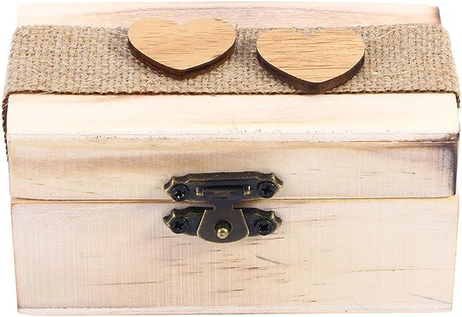 TOPBATHY Caja de Madera de Anillos de Novios Cajas de Madera para Decorar para Fiesta Ceremonia de Boda Vintage Caja de Joyería con Patron de Corazon: Amazon.es: Hogar