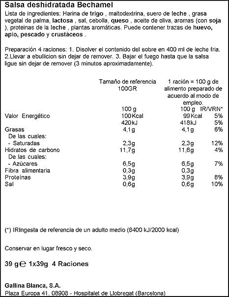 Gallina Blanca - Mi Salsa Bechamel - 39 g: Amazon.es: Alimentación y bebidas