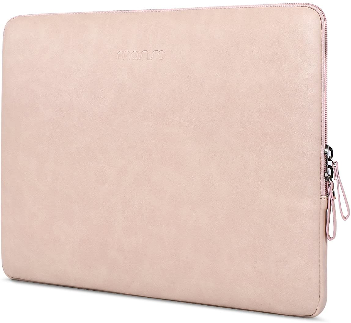 MOSISO Laptop Sleeve Compatible with 13-13.3 Inch MacBook Air/MacBook Pro Retina/2019 2018 Surface Laptop 3/2/Surface Book 2, PU Leather Super Padded Bag Waterproof Protective Case, Pink