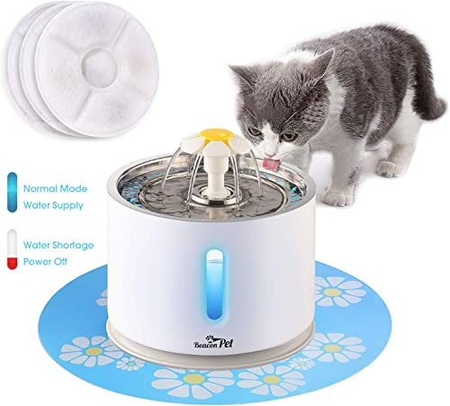 Beacon Pet Cat Water Fountain Stainless Steel, LED 81oz 2.4L Automatic Pet Fountain Dog Water Dispenser with 3 Replacement Filters 1 Silicone Mat for Cats Dogs Multiple Pets