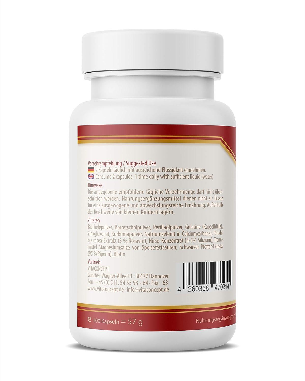 VITACONCEPT Haut Haare Nägel Repair Plus - 100 cápsulas para el crecimiento y la renovación celular de piel, pelo y uñas: Amazon.es: Alimentación y bebidas