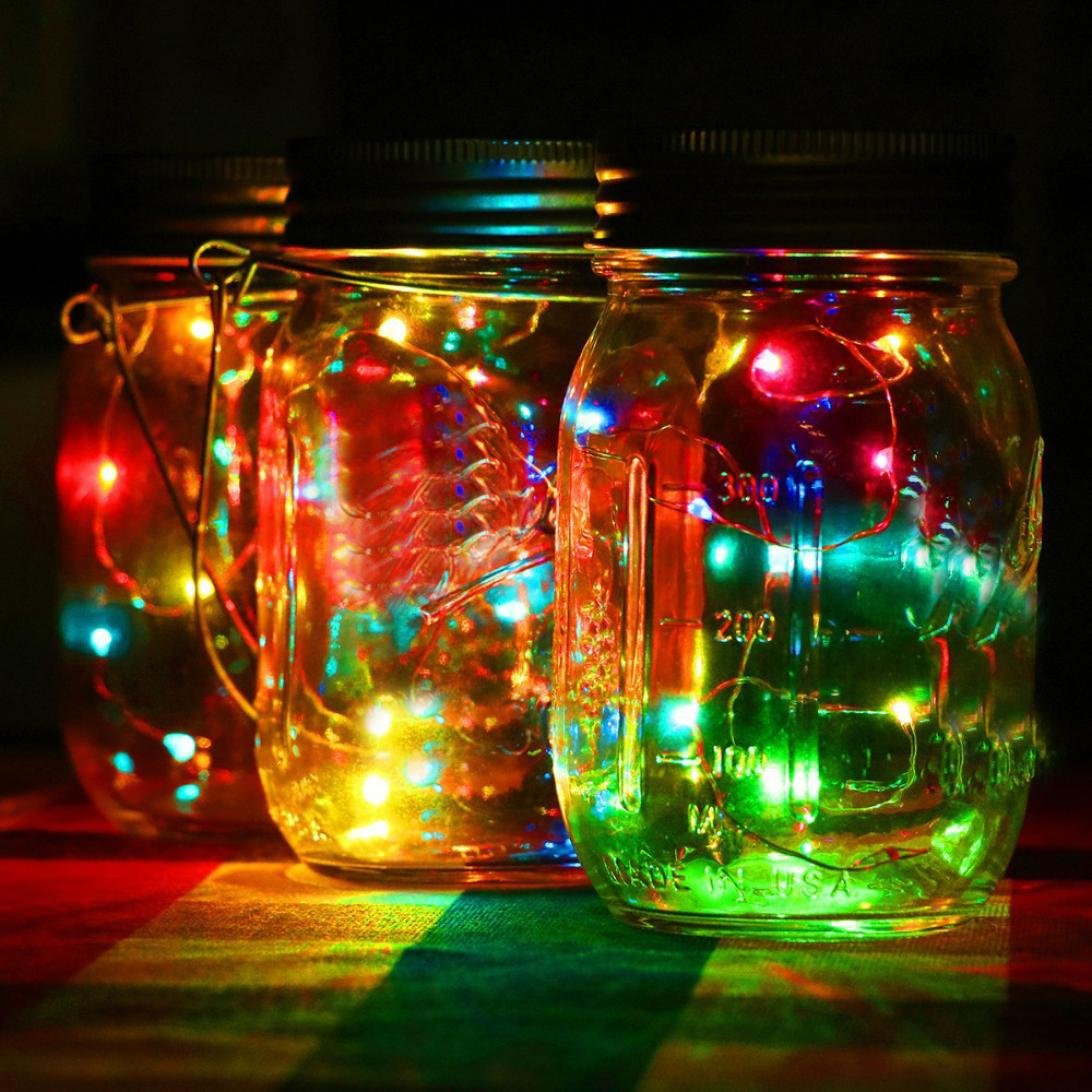 Solar Mason jar cap lid light string LED fairy lights solar Mason jar lid insert color changing garden decoration Flash sports outdoor blue-tin mini USB gift jewelry (YE) BananA_Light