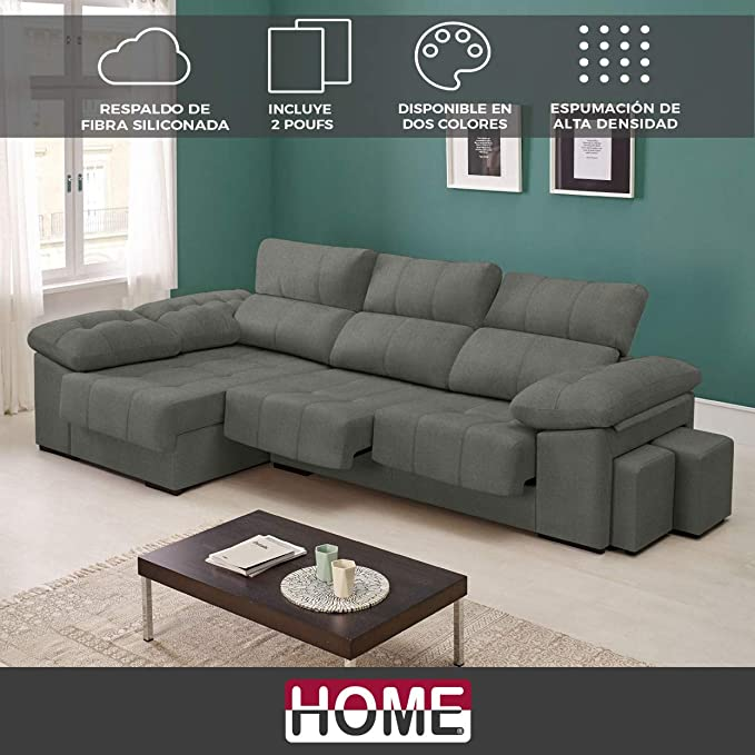 HOME Sofá de Tela Atlanta Medida 2 plazas XL + Chaise ...