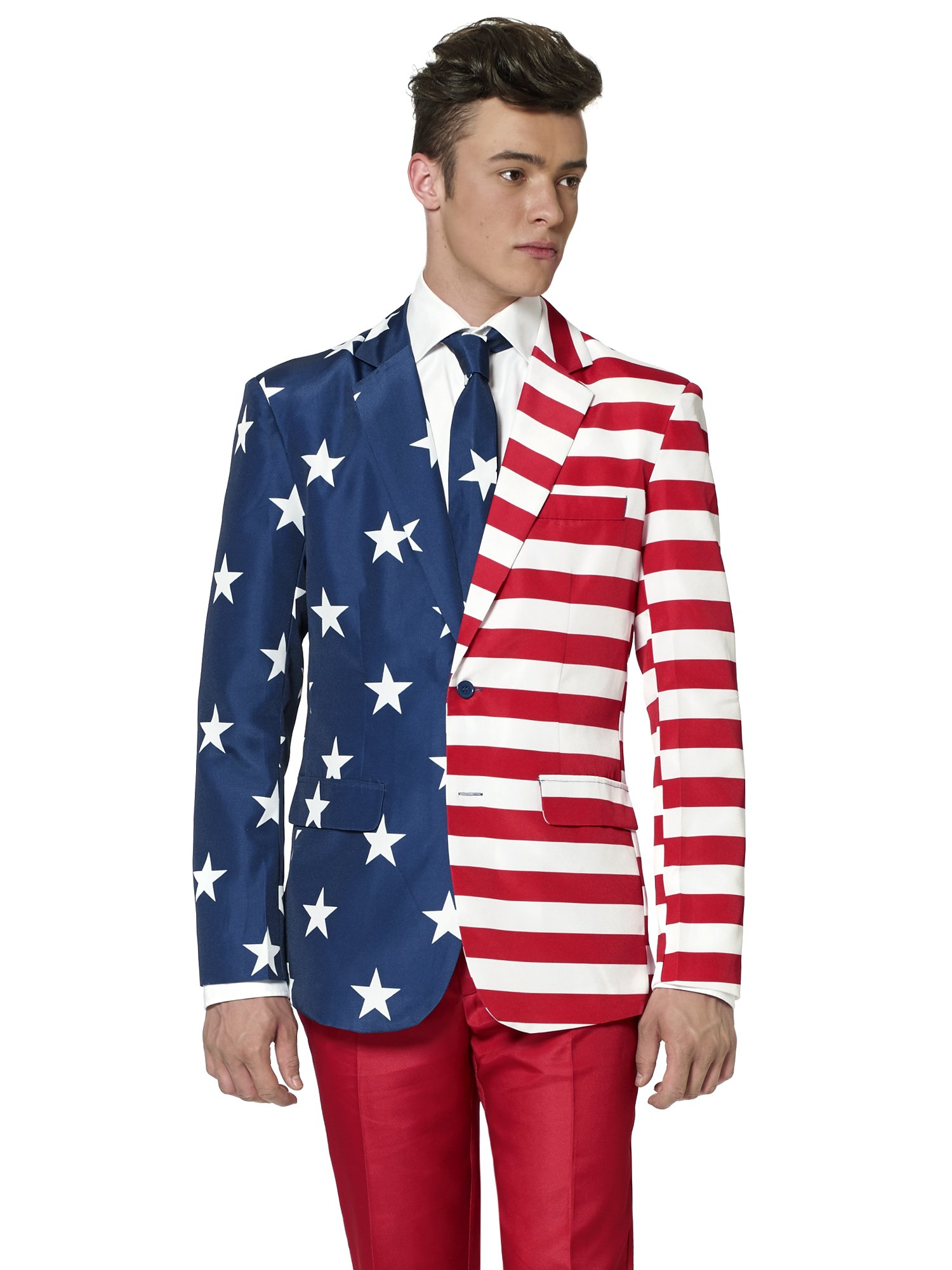 Suitmeister American Flag Suit Outfit - USA 4th of July XL Usa 50-50