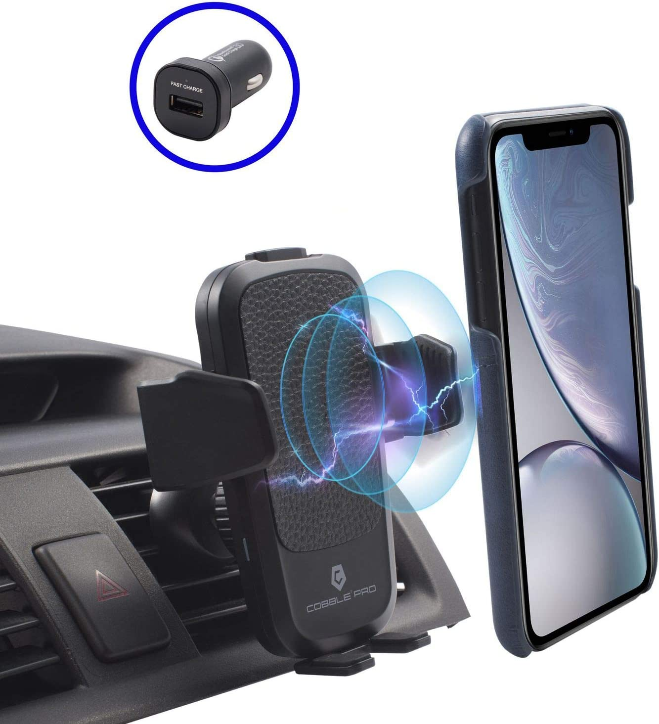 Cobble Pro 10W 7.5W Wireless Car Charger Mount Air Vent Phone Holder Include QC 3.0 Quick Charge Adapter Compatible with iPhone 11//11 Pro Max//X Xs XR 8 Plus//Samsung S10 S10+//Google Pixel 4 4a XL 3 3a