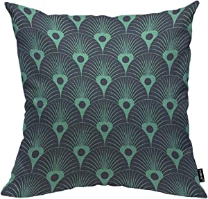 HOSNYE Peacock Feather Throw Pillow Cushion CoversVintage Abstract Ornament Art Deco Beautiful Ornate Decorative Square Accent Pillow Case 18 x18 inch