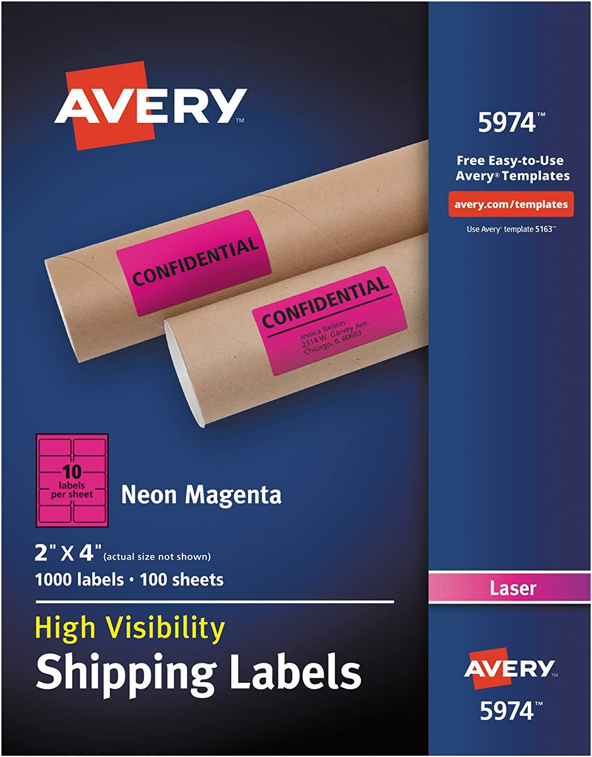 """B00UHYWJL2 Avery 2""""x 4"""" Neon Shipping Labels with Sure Feed for Laser Printers, 1,000 Pink Stickers (5974) 71wrg-XjpsL"""