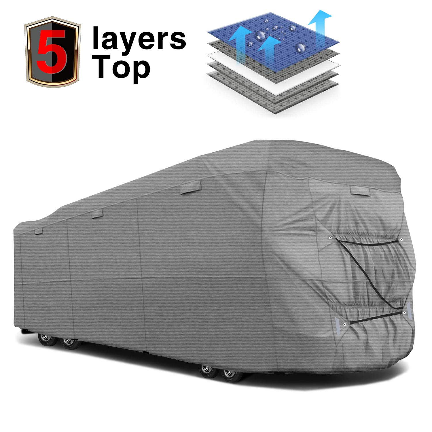 RVMasking Extra-Thick 5-ply Class A RV Cover, Fits 38'1'' - 42' RVs -  Breathable All Weather Ripstop Anti-UV Class A Cover 15 PCS Windproof  Buckles &