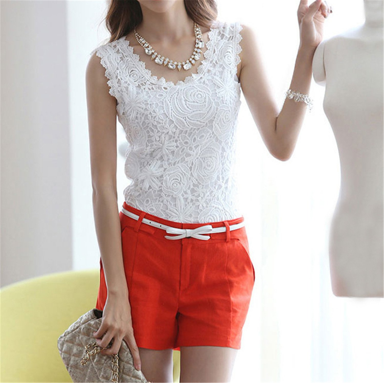 Amazon.com: Tinzonc Fashion Women White Lace Blouse O-Neck Sleeveless Shirts Blusas Elegant Blouse Shirt Women Summer Tops: Clothing