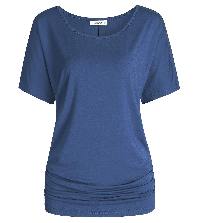 Steel bluee Esenchel Women's Short Sleeve Dolman Top Scoop Neck Drape Shirt