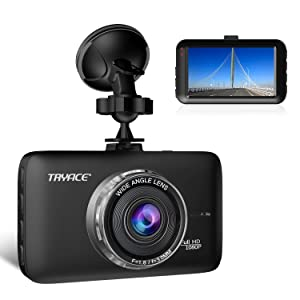 "TryAce Dash Cam FHD 1080P Car DVR Dashboard Camera with 3"" LCD Screen Parking Mode, WDR, G-Sensor, Loop Recording and Motion Detection Night Vision Car Recorder"