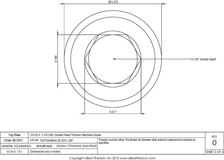 Allied Titanium 0017011, Inc CP 608460001 Grade 2 Pack of 10 1//4-20 X 1-1//4 UNC Titanium Socket Head Machine Screw