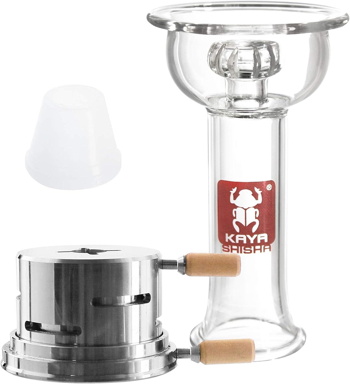 Juego de cazoleta 4tex para cachimba, cazoleta Vortex de vidrio con junta de goma, gestor de calor Firebug para una sola pieza de carbón