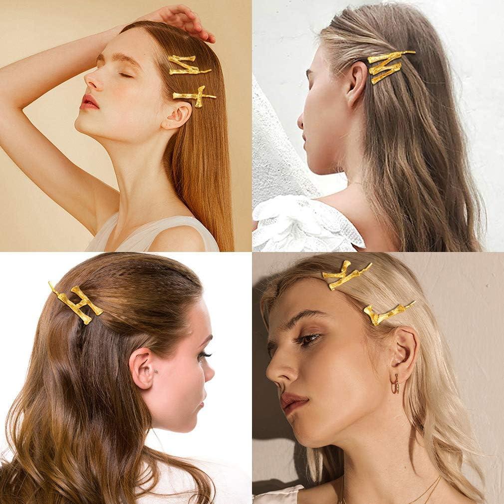 FOCALOOK Pince /à Cheveux Barette Initial Femme Fille /Épingle Lettre Bambou Forme Hair Pin Accessoires Tendance pour Coiffure Bijoux Tendance Cadeau Parfait