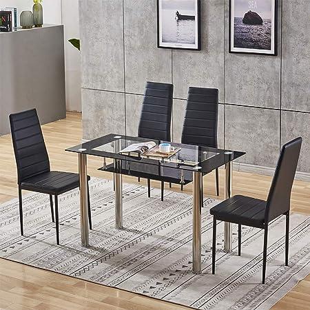 UYZ Juego de Mesa y sillas de Comedor Moderno 4 sillas de Cocina de Cuero sintético