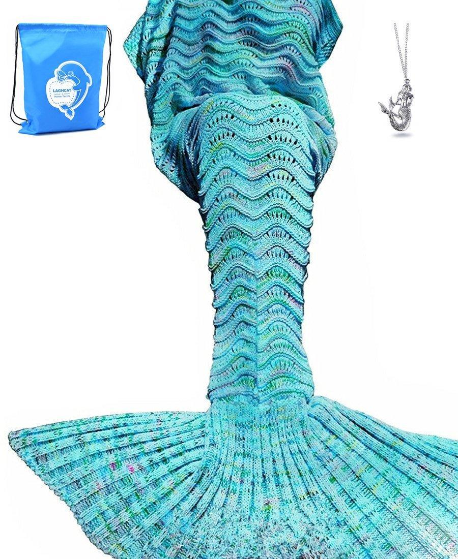 LAGHCAT Mermaid Tail Blanket Knit Crochet Mermaid Blanket for Adult, Oversized Sleeping Blanket, Wave Pattern (75''x35.5'', Mint Blue) by LAGHCAT