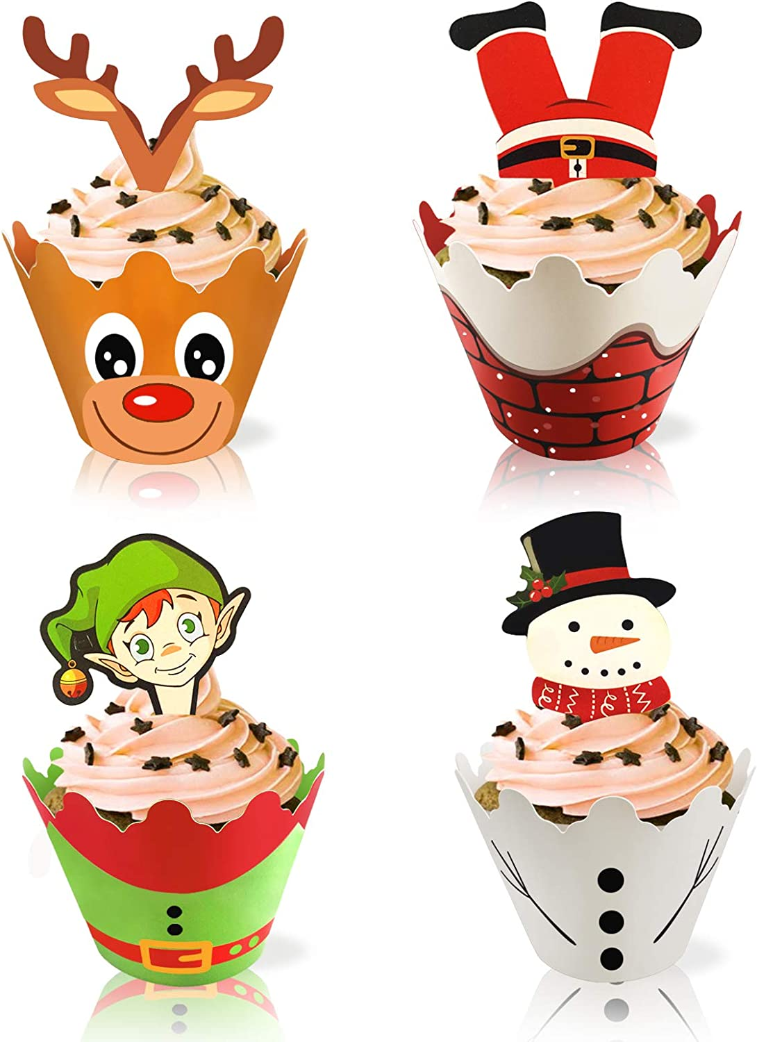 Christmas Cupcake Wrappers Toppers(48Pcs),Friendship Santa&Snowman& Reindeer& Elf Cake Decor with for Christmas Party Kitchen Cupcake Baking