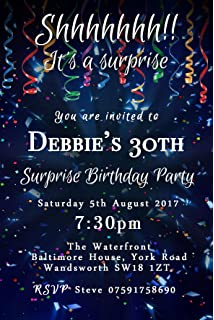Surprise Confetti Party Invitations (Any Age) Personalised Birthday Invites & Envelopes ...