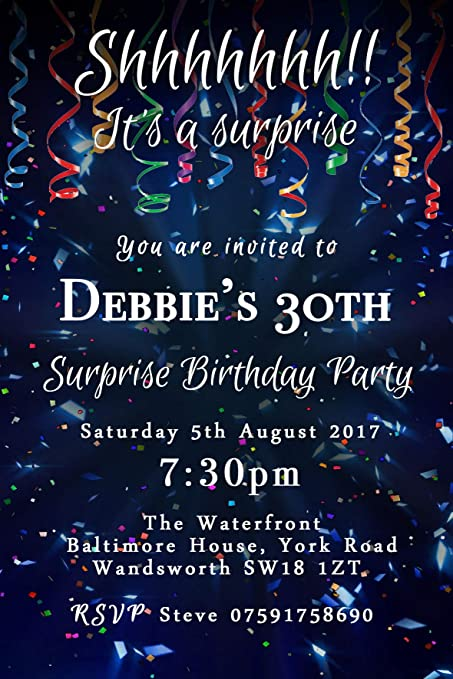 surprise confetti party invitations any age personalised birthday