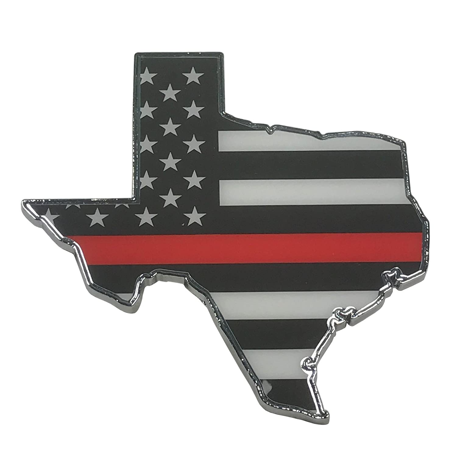 support Firefighters and EMTs pokerweights The Thin Red Line Texas Metal Auto Emblem American flag with red line