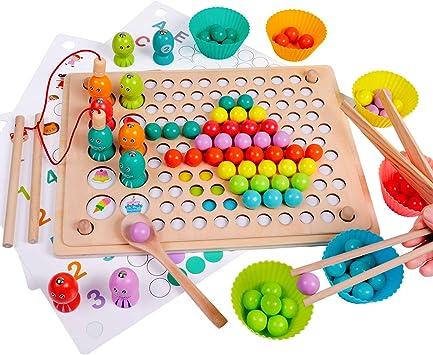 Juego de Pesca magnética de Madera Clip Beads Juego de Mesa de Rompecabezas Año Nuevo para 3 4 5 años Niño Niña Montessori Juguetes para niños Juego de combinación Juguete de Memoria:
