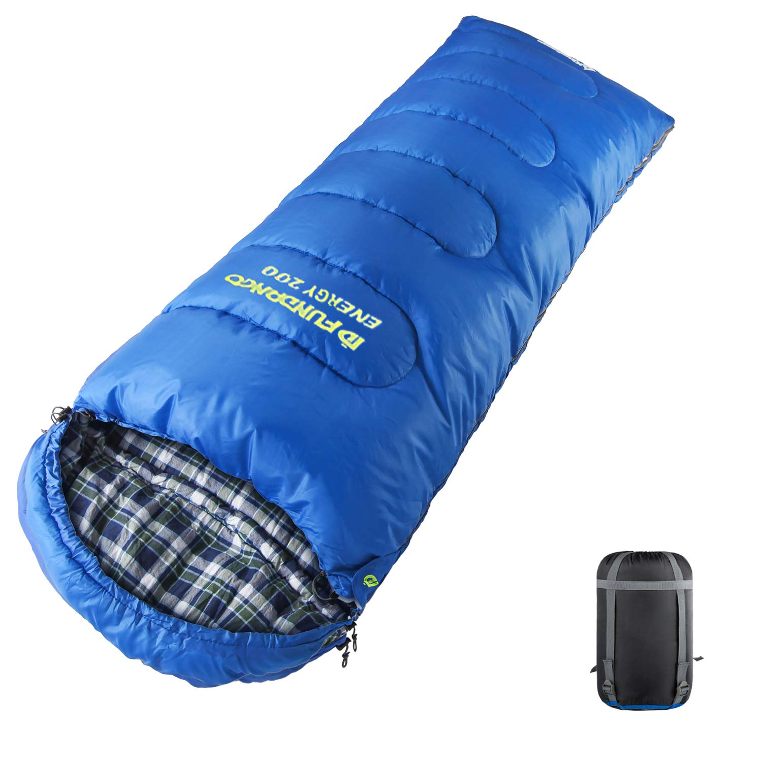 FUNDANGO Lightweight 3-season Adult Sleeping Bag 43F/6C Portable Comfort with Compression Bag for Camping, Hiking, Backpacking