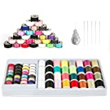 QUARKACE Mini Sewing Machine Thread, 60 Pieces Sewing Thread Kit Including Threaded Bobbins and Spools, Mixed Colors Machine