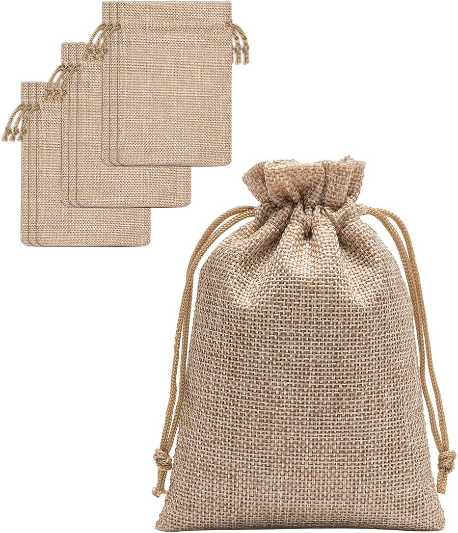 40 X Natural Jute Hessian Drawstring Pouch Burlap Wedding Favor Gift Bags USA