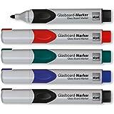 Sigel GL711 Lot de 5 Marqueurs pour tableaux en verre - tableaux blancs, pointe arrondie de 2-3 mm - effaçables - 4 couleurs (noir/rouge/vert/bleu)