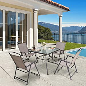 Crestlive Products 5 Piece Patio Dining Set with 4 Folding Chairs and Table Outdoor Dining Furniture with Square Glass Tabletop, Umbrella Hole for Bistro, Garden, Backyard, Deck (Beige)