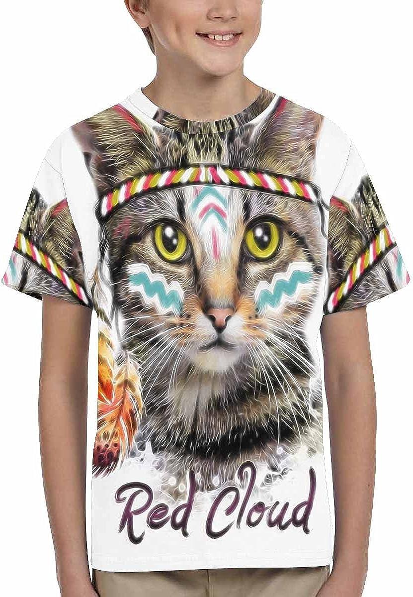 XS-XL INTERESTPRINT American Indian Cat Print Love You Kids T-Shirt