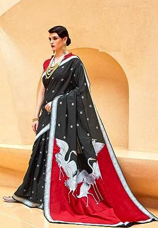 ETHNIC EMPORIUM - Blusa de Seda Kalika para Mujer, diseño de cisnes, Color Rojo y Negro: Amazon.es: Ropa y accesorios