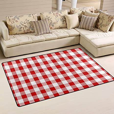 Amazon.com: Buffalo Plaid Red White Check Print Area Rugs ...