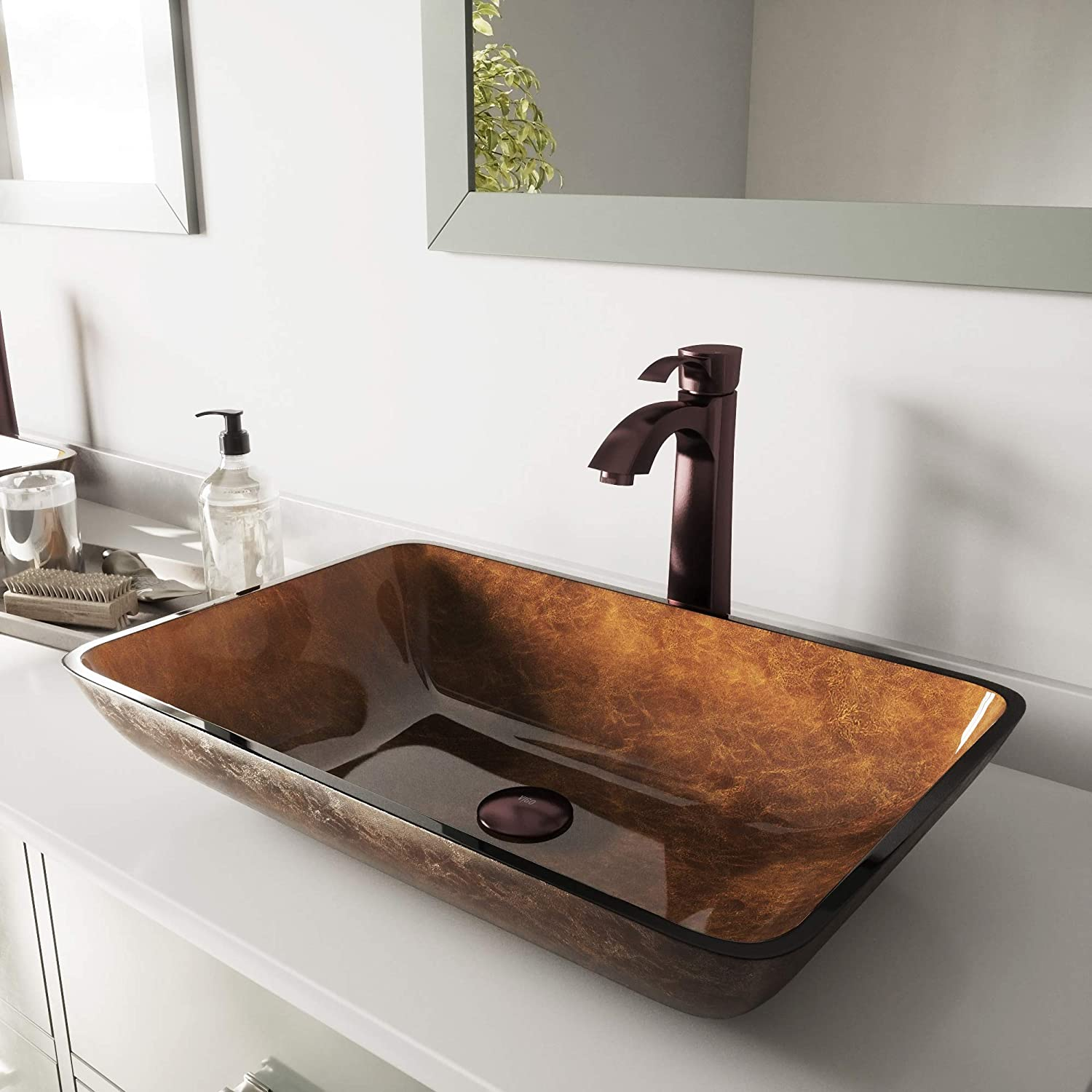 VIGO Rectangular Russet Glass Vessel Bathroom Sink and Otis Vessel Faucet with Pop Up, Oil Rubbed Bronze