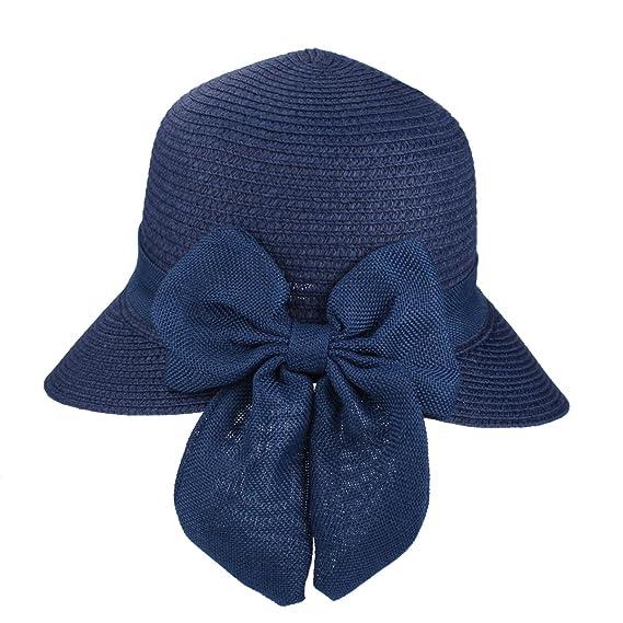 Bowknot Casual Sombrero de Paja para Mujer Verano Sun Beach Sombrero de  Paja UPF 50+ a22df606bce