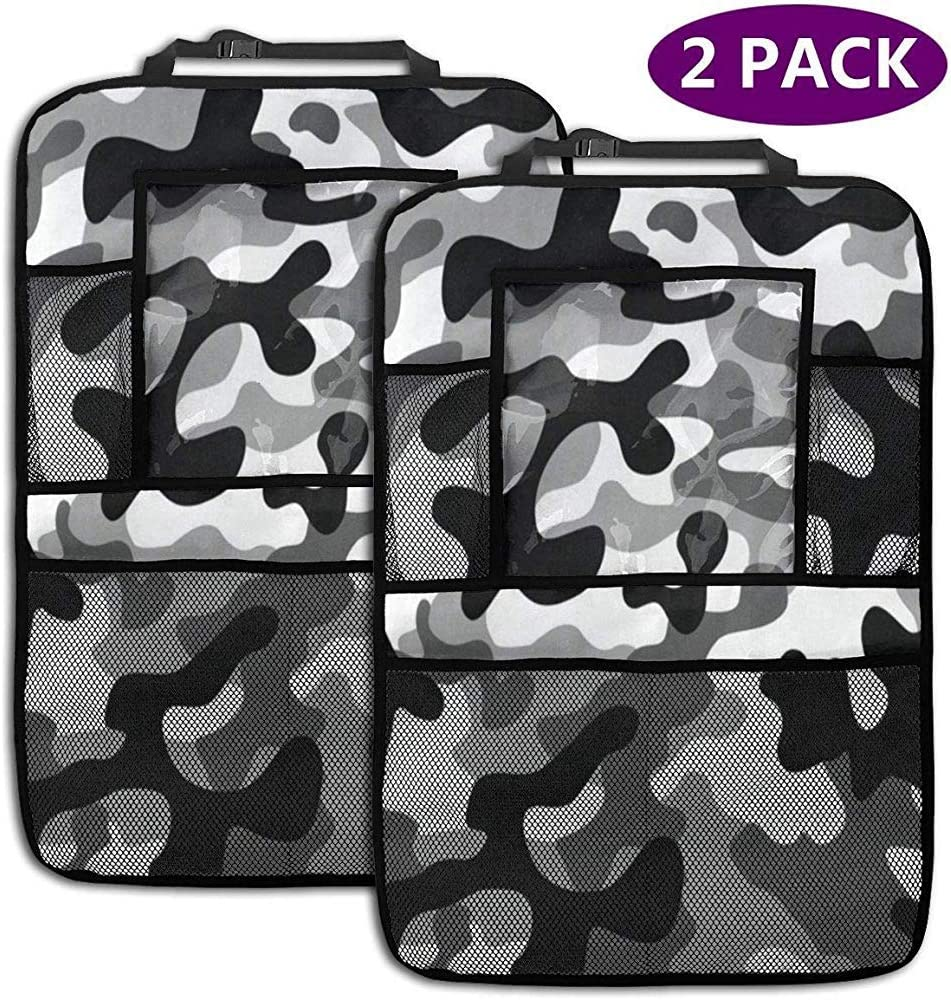 Olive Croft Military Camouflage Car Back Seat Organizer Auto Front Seat Protector Multi-Pocket Car Hanging Storage Bag for Kids iPad Tablet Bottle Drink