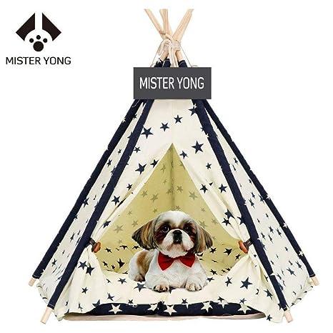 MISTER YONG - Tienda de Campaña para Mascotas con Cojín para Perros, Gatos, Plegable