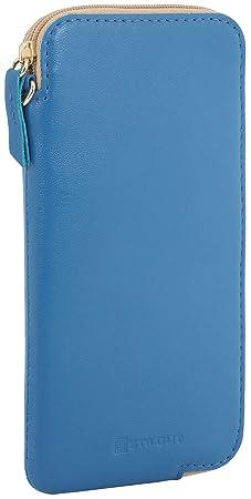 StilGut Custodia porta cellulare in vera pelle con cerniera XL, Azzurro Nappa
