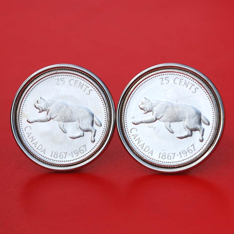 Canada 1967 25 Cents Gem BU Uncirculated Proof-like 80% Silver Coin Cufflinks - Wildlife Animal Lynx NEW