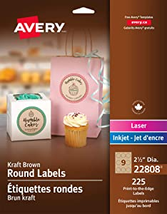 Avery Print-To-The-Edge Kraft Brown Round Gift Labels, 2-1/2 Inch, Pack of 225 (22808)