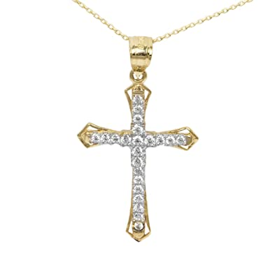 """1c3593764ba5a5 Ice on Fire Jewelry 10k Yellow Gold Cubic Zirconia Cross Pendant Necklace  (16"""" Mariner"""