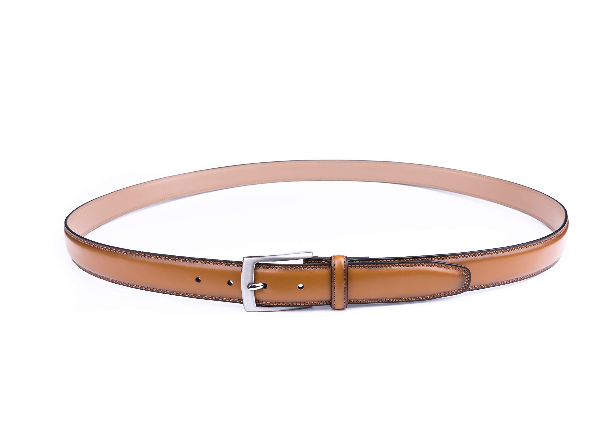 Milorde/'s Men Genuine Leather Belt Single Prong Buckle Fashion Classic Design